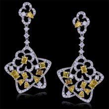 White & Yellow Canary Diamond Earrings White 18K Gold 1.05 ct. & 1.51 ct. Pave' & Prong 7.52 g