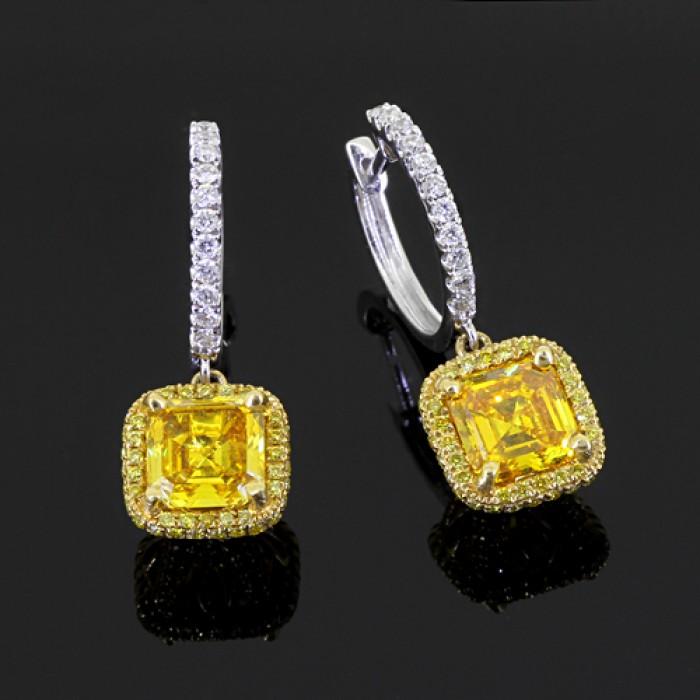 white amp yellow diamond earrings white amp yellow 18k gold 2