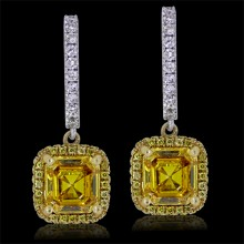 White & Yellow Diamond Earrings White & Yellow 18K Gold 2.39 ct. & 1.12 ct. 4.35G