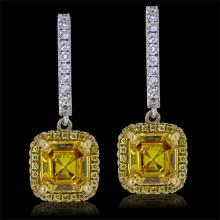 White & Yellow Diamond Earrings White & Yellow 18K Gold 2.39 ct. & 1.12 ct. 4.35G