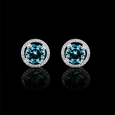 White & Blue Diamond Stud Earrings White Gold