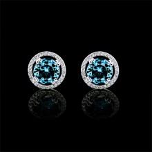 White & Blue Diamond Stud Earrings White Gold