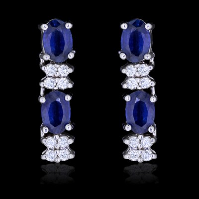 White Blue Diamond & Sapphire Earrings White 14K Gold 1.61 ct. & 1.40 ct. Prong