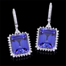 Diamond & Blue Sapphire Earrings White 18K Gold 28.85 ct. & 1.53 ct. Prong & Pave' 13 g