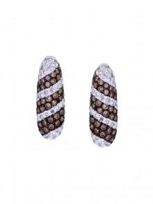 White and Brown Diamond Earrings