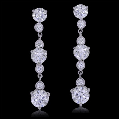 Diamond Earrings White 14K Gold 9.0 ct. Prong & Bezel 3.8 g