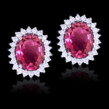 White, Pink Diamond & Sapphire Stud Earrings White 18K Gold 0.50 ct. & 4 ct. Pave' & Prong 21 g