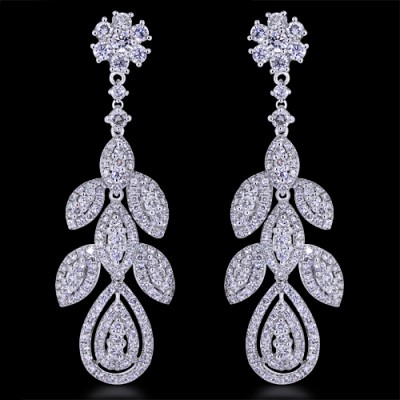 Diamond Earrings White Gold Pave' & Prong