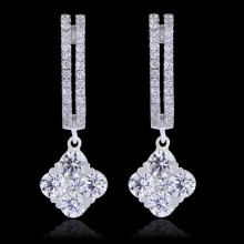 Diamond Hoop Earrings White 18K Gold 1.27 ct. Prong, Pave' & Round Cluster 4.27 g