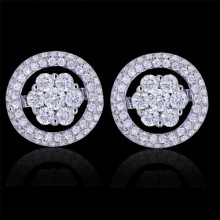 Diamond Flower Jacket Stud Earrings White 18K Gold 1.19 ct Prong, Pave', Round & Invis Cluster 5.01 g