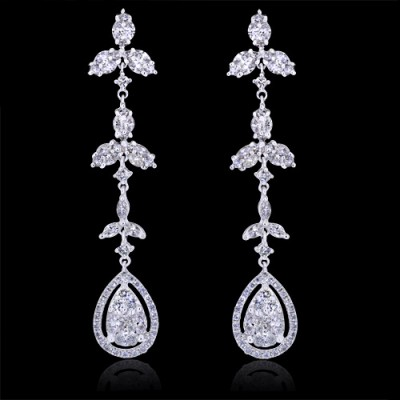 Diamond Earrings White Gold Prong & Pave'
