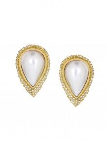 White Diamond Pearl Earrings