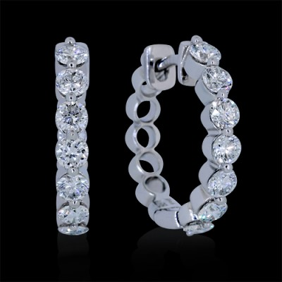 Diamond Hoop Earrings White Gold Prong
