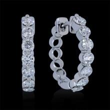 Diamond Hoop Earrings White Gold Prong