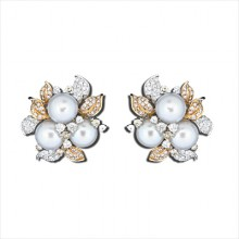 Diamond & Pearl Stud Earrings White & Yellow Gold Micro Pave' & Prong