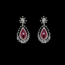 White, Red Diamond & Ruby Earrings White Gold Micro Pave' & Prong