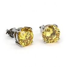 Yellow Canary Diamond Stud Earrings White Gold
