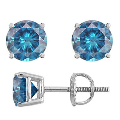 Blue Diamond Stud Earrings White Gold
