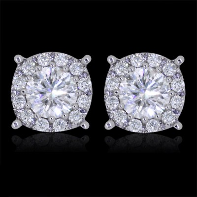 Diamond Stud Earrings White 14K Gold 2.0 ct. Prong & Pave' & Round cluster 2.6 g