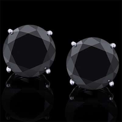 Black Diamond Stud Earrings White & Yellow & Rose 14K Gold 16 ct. Prong 5 g