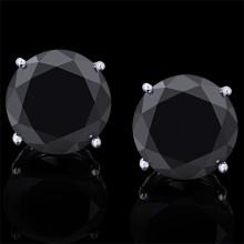 Black Diamond Stud Earrings White & Yellow & Rose 14K Gold 16 ct. Prong 5 g
