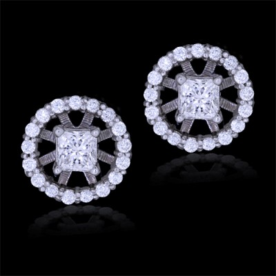 Diamond Stud Earrings White 18K Gold 1.5 ct. Pave' & Prong 4 g