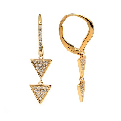Double Inverted Pyramind Diamond Earrings