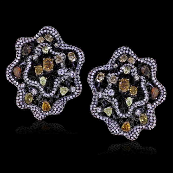 White Orange Pink Yellow Brown Diamond Stud Earrings 18k Gold 2 27 Ct