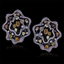 White, Orange, Pink, Yellow & Brown Diamond Stud Earrings White 18K Gold 2.27 ct. & 2.90 ct. Pave' & Prong 25.9 g