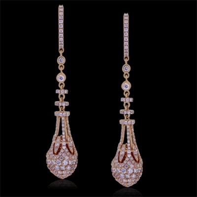 Diamond Earrings Rose 18K Gold 3.57 ct. Pave' 9.2 G