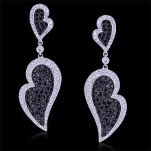 White & Black Diamond Earrings White 18K Gold 1.35 ct. & 2.15 ct. Pave' 11.6 G