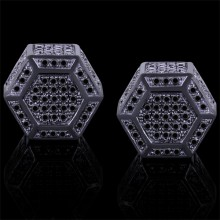 Black Diamond Stud Earrings Black 10K Gold 0.81 ct. Micro Pave' 4 g