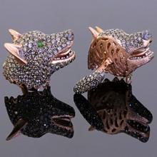 Brown Diamond Wolf Cufflinks
