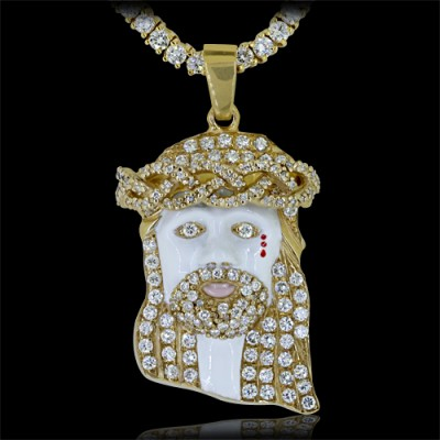 Diamond Jesus Head Pendant Yellow 10K Gold 4.5 ct. ave' 23.3 g