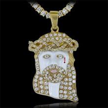Diamond Jesus Head Pendant Yellow 10K Gold 4.5 ct. ave' 23.3 g