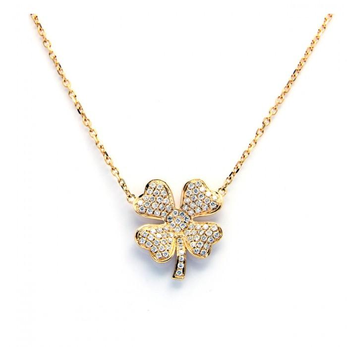 Lovely Four-Leaf Clover Diamond Necklace VY87
