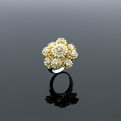 Diamond Cocktail Ring White & Yellow Gold Micro Pave' & Prong