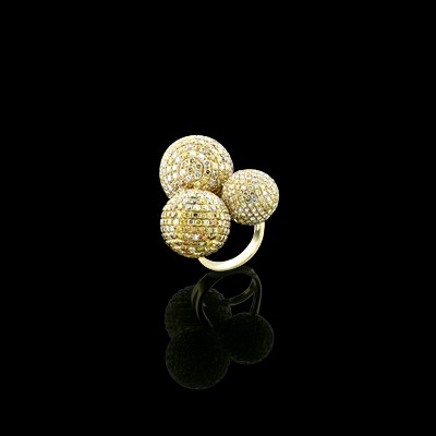 Diamond Cocktail Ring Yellow Gold Micro Pave'