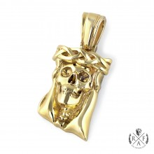 1.75 Inch Thorn Crown Skull Solid Gold Pendant