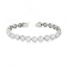 14K White Gold Diamond Ball Tennis Bracelet In Micro Pave'