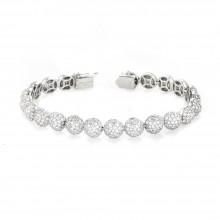 14K White Gold Diamond Ball Tennis Bracelet In Micro Pave'