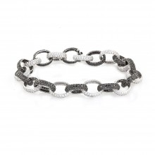 25 Carats White & Black Iced Out Diamond Chain Bracelet