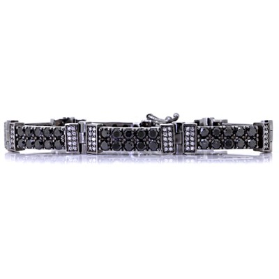 White & Black Diamond Tennis Bracelet White Gold