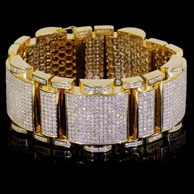 Diamond Tennis Bracelet Yellow 10K Gold Pave' 201 g