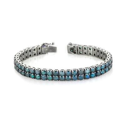 30 Carats Blue Diamond 2-Rows Prong Tennis Bracelet