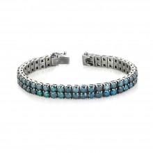 30 Carats Blue Diamond 2-Rows Prong Tennis Bracelet