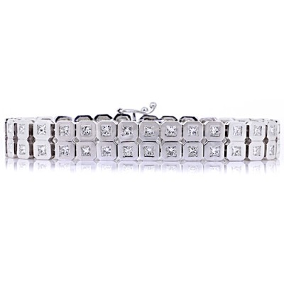 Diamond Tennis Bracelet White 14K Gold 12.57 ct Bezel 73.7 g