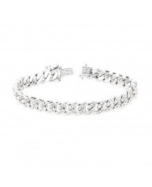 Cuban Link Diamond Bracelet White 10K Gold 2.5 Ct Micro Pave' 32.7 Gr