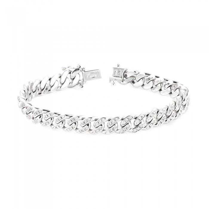 Cuban Link Diamond Bracelet White 10k Gold 2 5 Ct Micro Pave 32 7 Gr