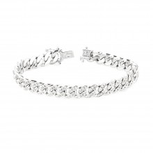 Cuban LinkDiamond Bracelet White 10K Gold 2.5 Ct Micro Pave' 32.7 Gr